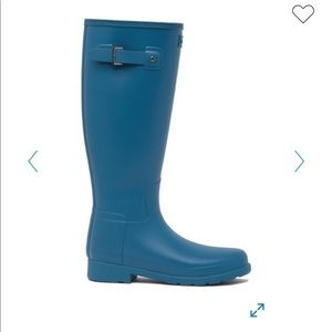 Teal Hunter rain boots with liner socks